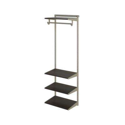 Closet Culture 16 in. D x 24 in. W x 78 in. H  with 4 Espresso Wood Shelves Steel Closet System