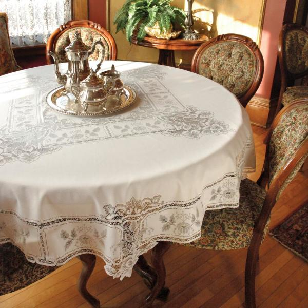 Heritage Lace Heirloom Round White Polyester Tablecloth HL 7000W   The Home  Depot