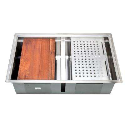 3D Series Undermount Stainless Steel 32 in. 50/50 Double Bowl Kitchen Sink