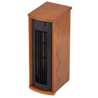 1500-Watt Infrared Quartz Oscillating Electric Portable Heater with Remote Control - Oak