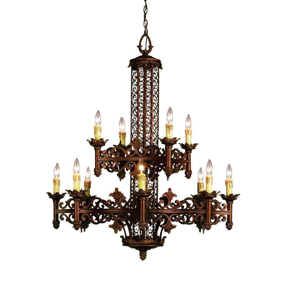 Eurofase Modesa Collection 12-Light 222-1/2 in. Hanging Rustic Bronze Chandelier