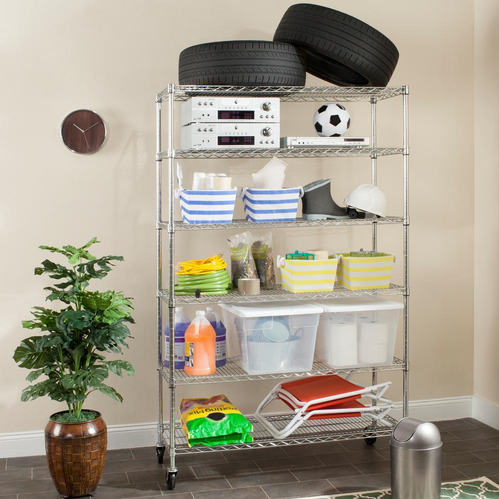 Juliet 6 Shelves Chrome Heavy Duty Decorative Shelving Rack