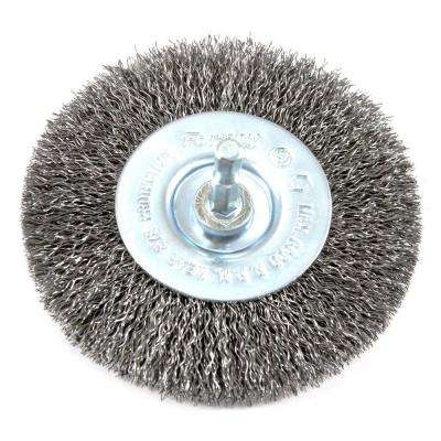 4 in. x 1/4 in. Hex Shank Coarse Crimped Wire Wheel Brush