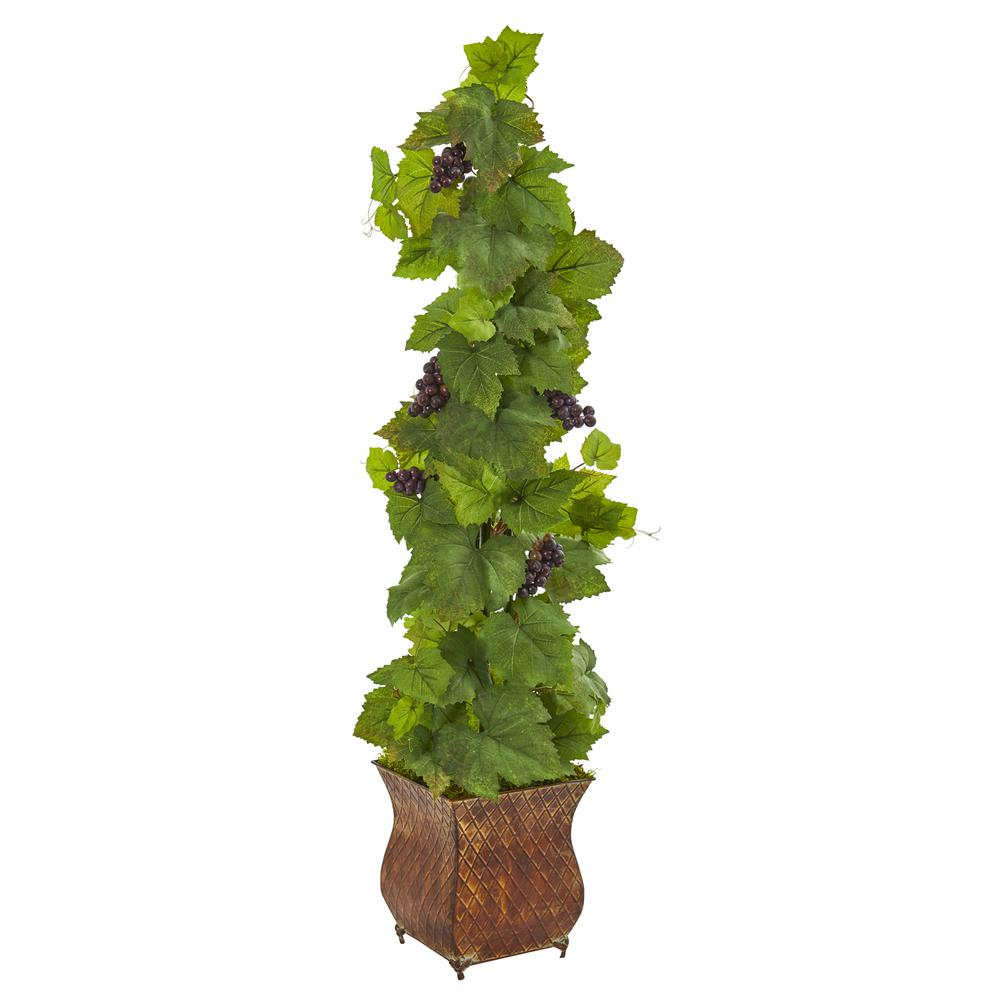 4 ft. Indoor Grape Artificial Plant in Square Metal Planter