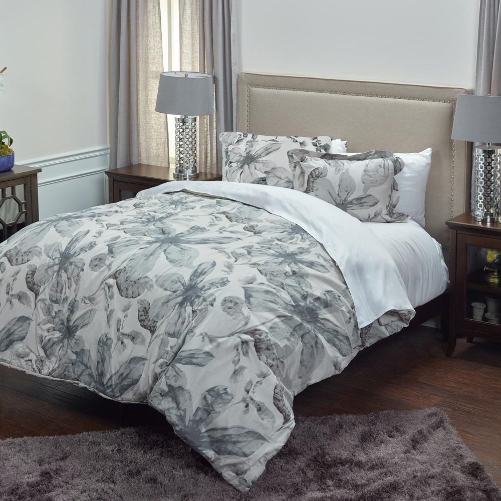 Ivory/Gray Floral Pattern 3-Piece King Bed Set