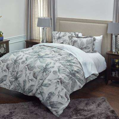 Ivory/Gray Floral Pattern 3-Piece Queen Bed Set