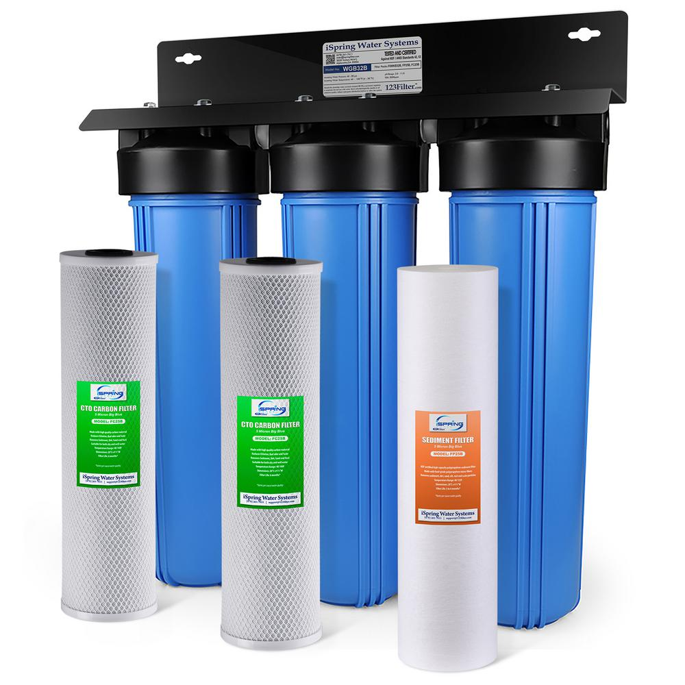 ispring 3 stage whole house water filtration system w 20x45 in - Whole House Water Filtration System