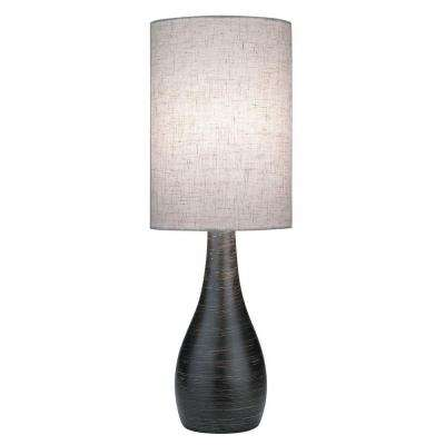 17 in. Bronze Table Lamp with Tan Linen