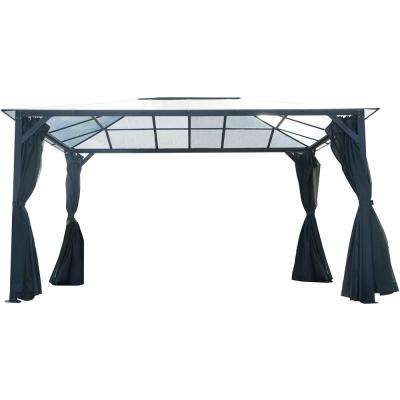 13 ft. x 10 ft. Aluminum Hardtop Gazebo with Polycarbonate Roof Panels, Sunshade Curtains and Mosquito Netting