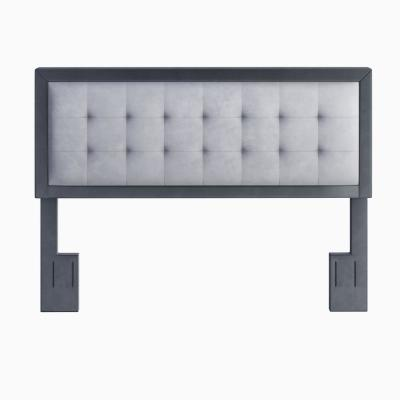 Zayn Grey and Charcoal Velvet Upholstered Queen Headboard
