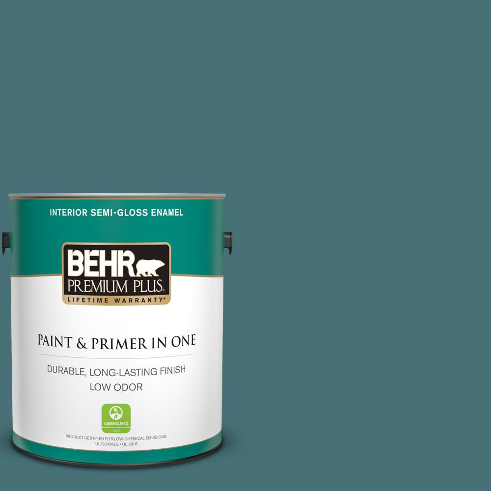 Incredible Behr Premium Plus 1 Gal Ppu13 02 Juniper Berries Semi Gloss Enamel Low Odor Interior Paint And Primer In One Home Interior And Landscaping Ferensignezvosmurscom