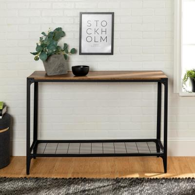 """44"""" Rustic Angle Iron Entryway Accent Table - Barnwood"""