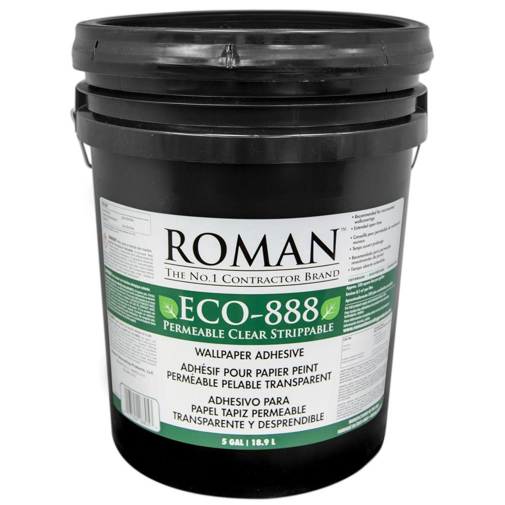 Roman eco 888 5 gal strippable clear wallcovering for Wallpaper adhesive home depot
