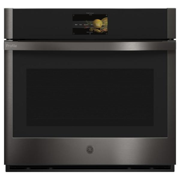 Profile 30 in. Single Electric Wall Oven with Convection Self Cleaning in Black Stainless Steel, Fingerprint Resistant