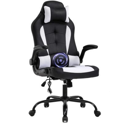 White and Black Gaming Chair Ergonomic Swivel Rolling Computer Massage Chair with Headrest and Adjustable Lumbar Support