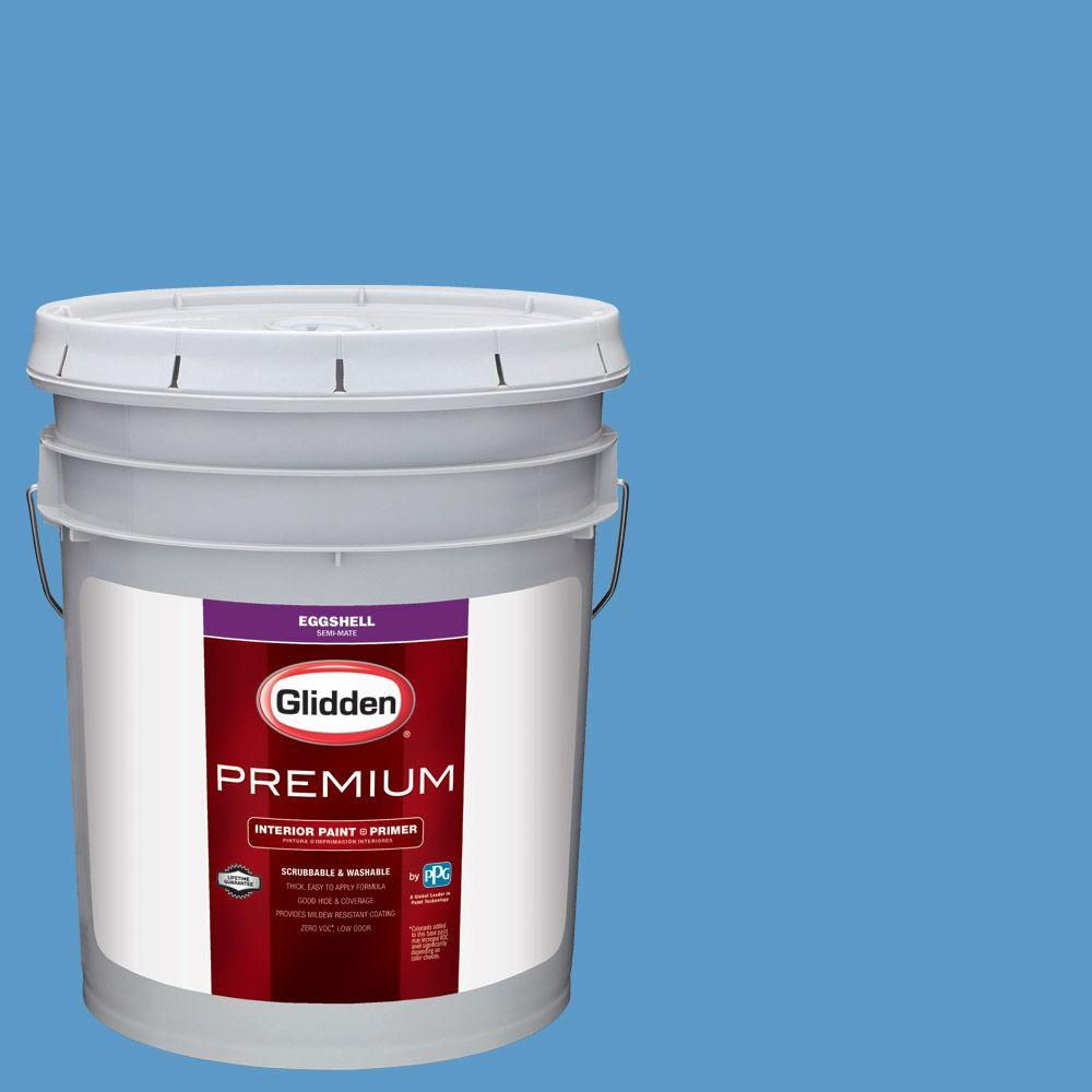 Glidden Premium 5 gal. #HDGV01 Bright Sailing Sky Blue Eggshell Interior Paint with Primer
