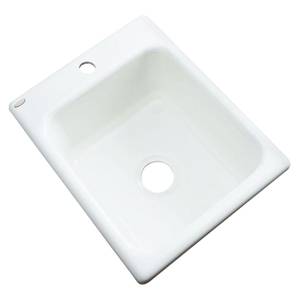 Thermocast Crisfield Drop-In Acrylic 17 in. 1-Hole Single Basin Prep Sink in White