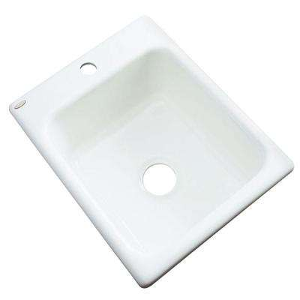 Crisfield Drop-In Acrylic 17 in. 1-Hole Single Bowl Prep Sink in White