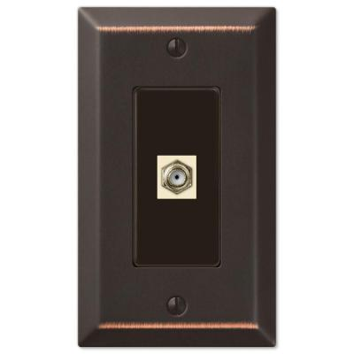 Metallic 1 Gang Coax Steel Wall Plate - Aged Bronze