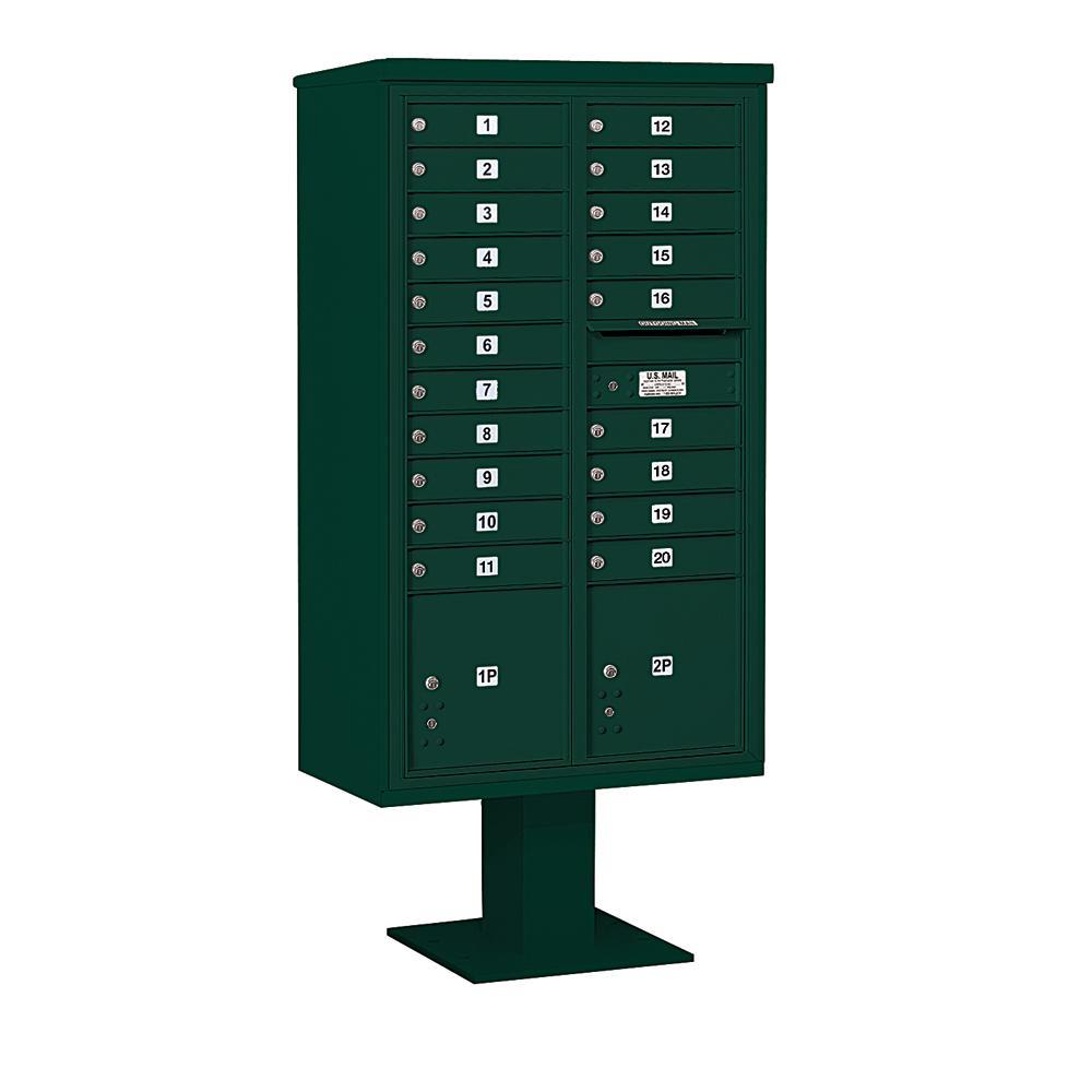 3400 Horizontal Series 20-Compartment 2-Parcel Locker Pedestal Mount Mailbox
