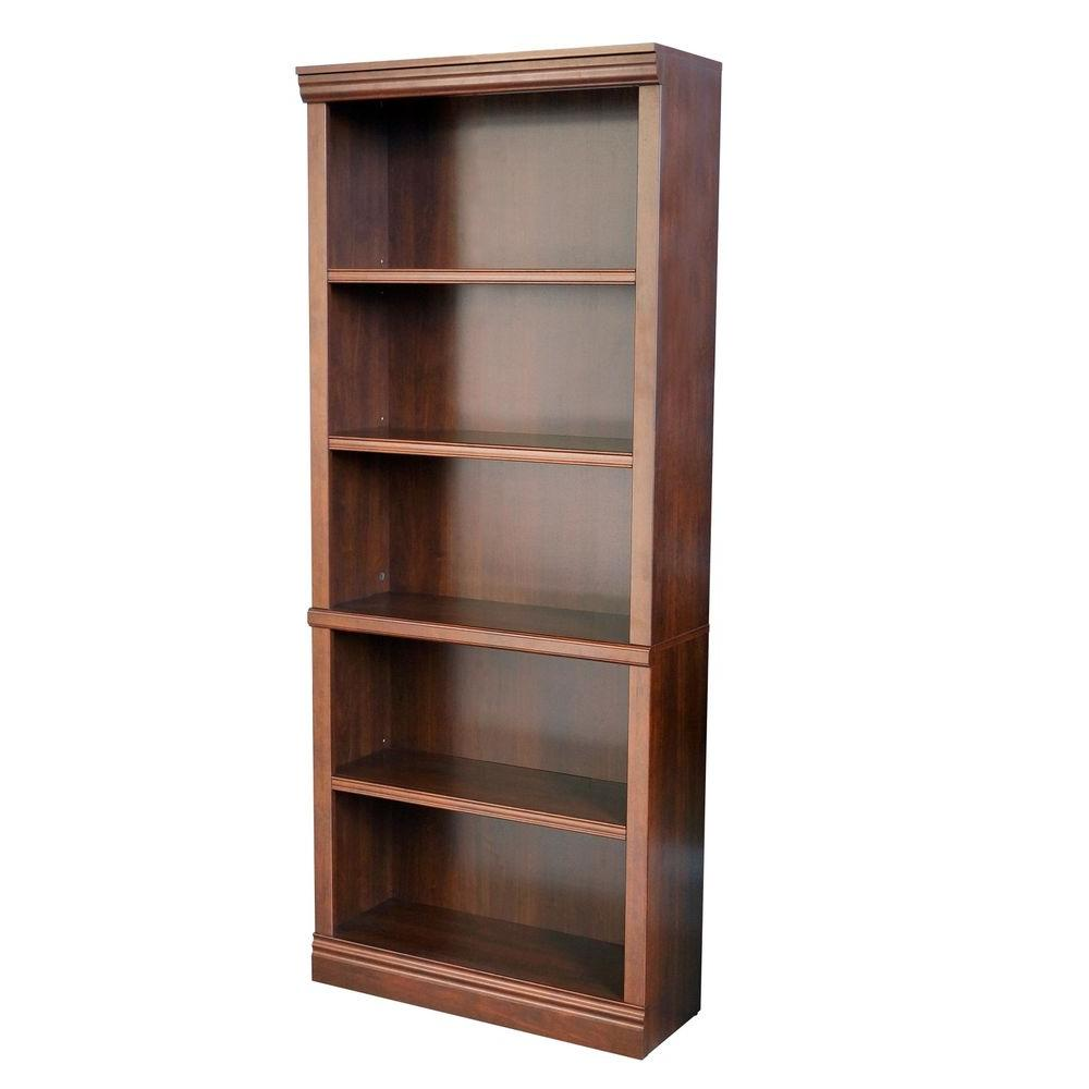 Hampton Bay 71 5 In Dark Brown Wood 5 Shelf Standard Bookcase With Adjustable Shelves Thd130419 1a Of The Home Depot