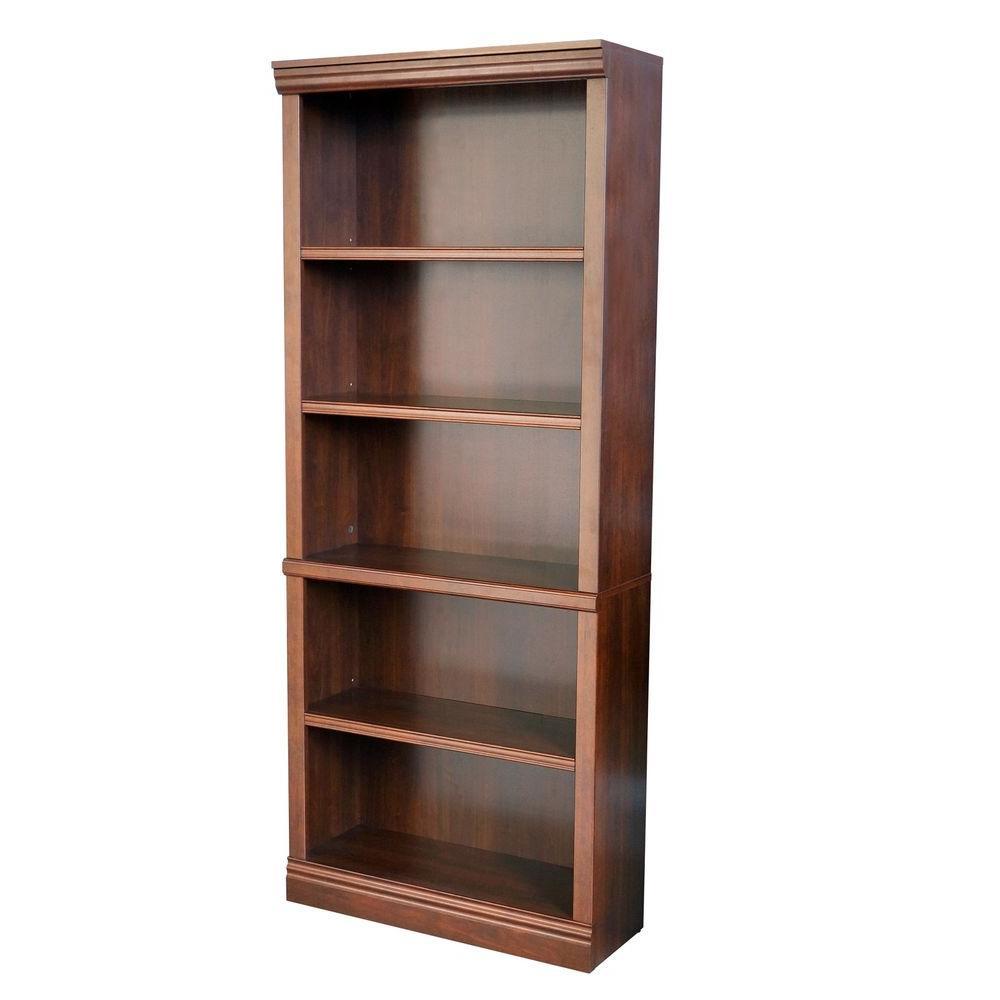 5 Hampton Bay Dark Brown Wood Open Bookcase
