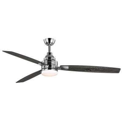 Rowan 60 in. Integrated LED Indoor Polished Chrome Ceiling Fan with Light Kit and Remote Control