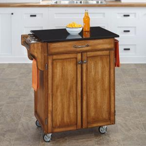 Home Styles Create A Cart Warm Oak Kitchen Cart With Black Granite  Top 9001 0064   The Home Depot