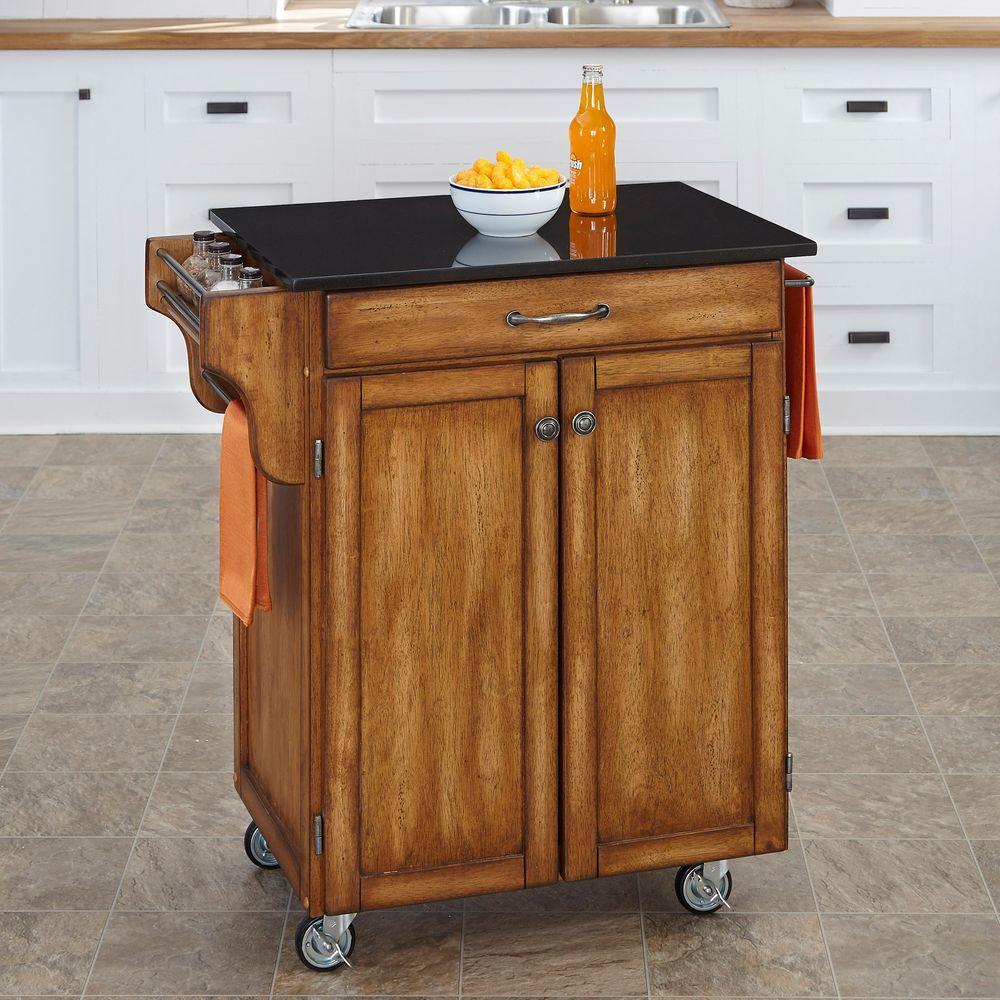 Create-a-Cart Warm Oak Kitchen Cart With Black Granite Top