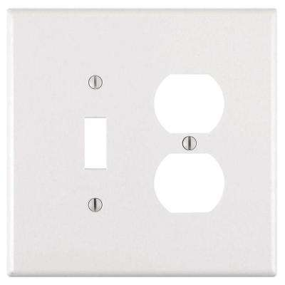 2-Gang Jumbo 1 Toggle 1 Duplex Combination Wall Plate, White