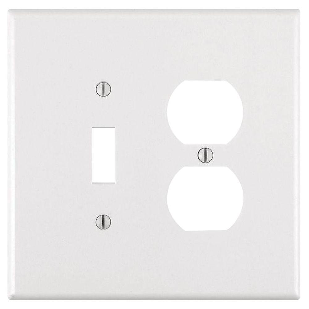 2-Gang Jumbo 1-Toggle 1-Duplex Combination Wall Plate, White
