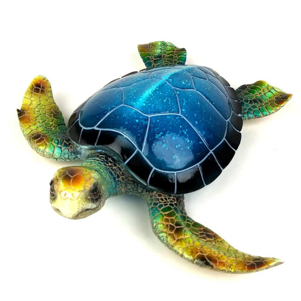 Large Blue Sea Turtle Figurine
