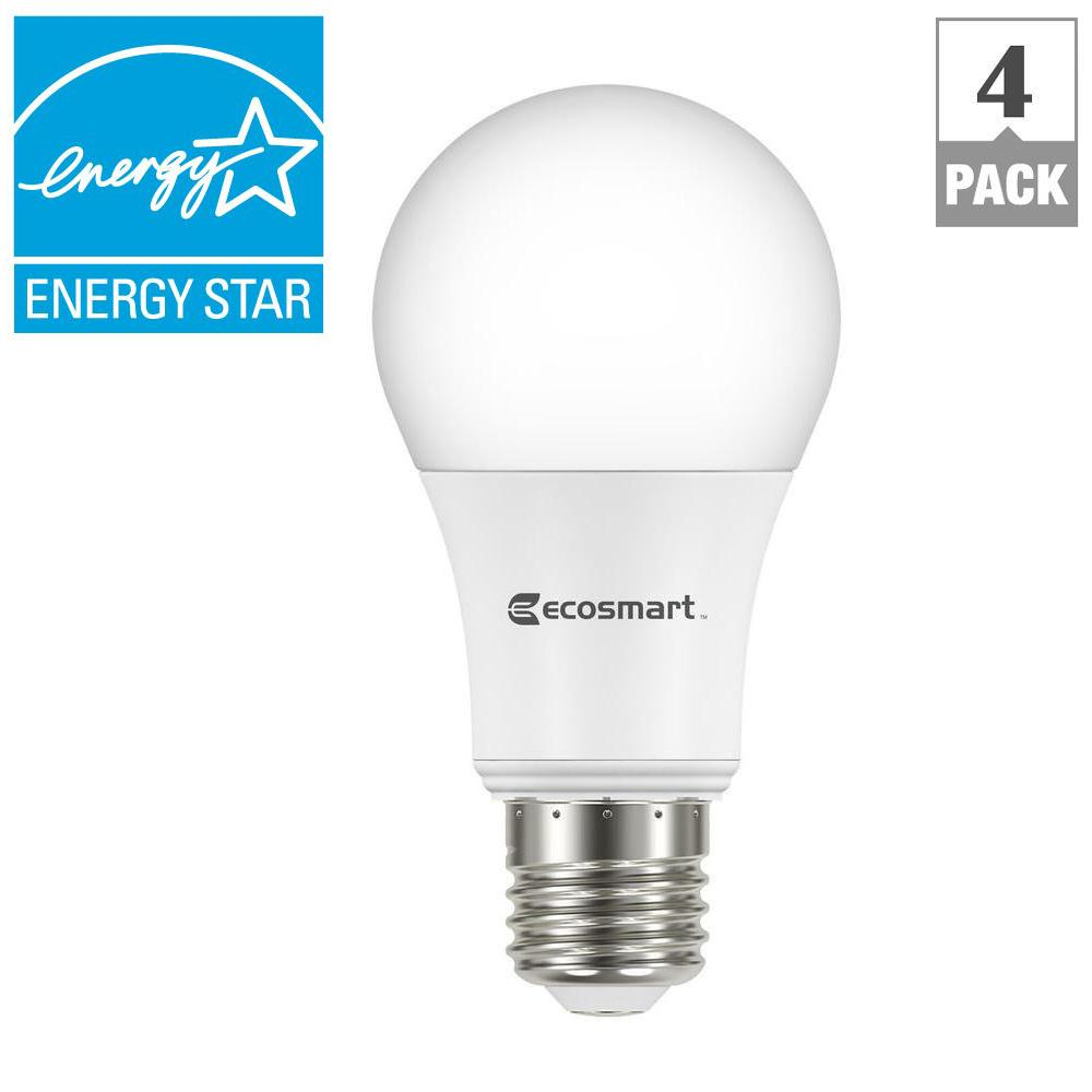 Ecosmart 60w Equivalent Soft White A19 Energy Star Dimmable Led Light Bulb 4 Pack A810ss Q1d