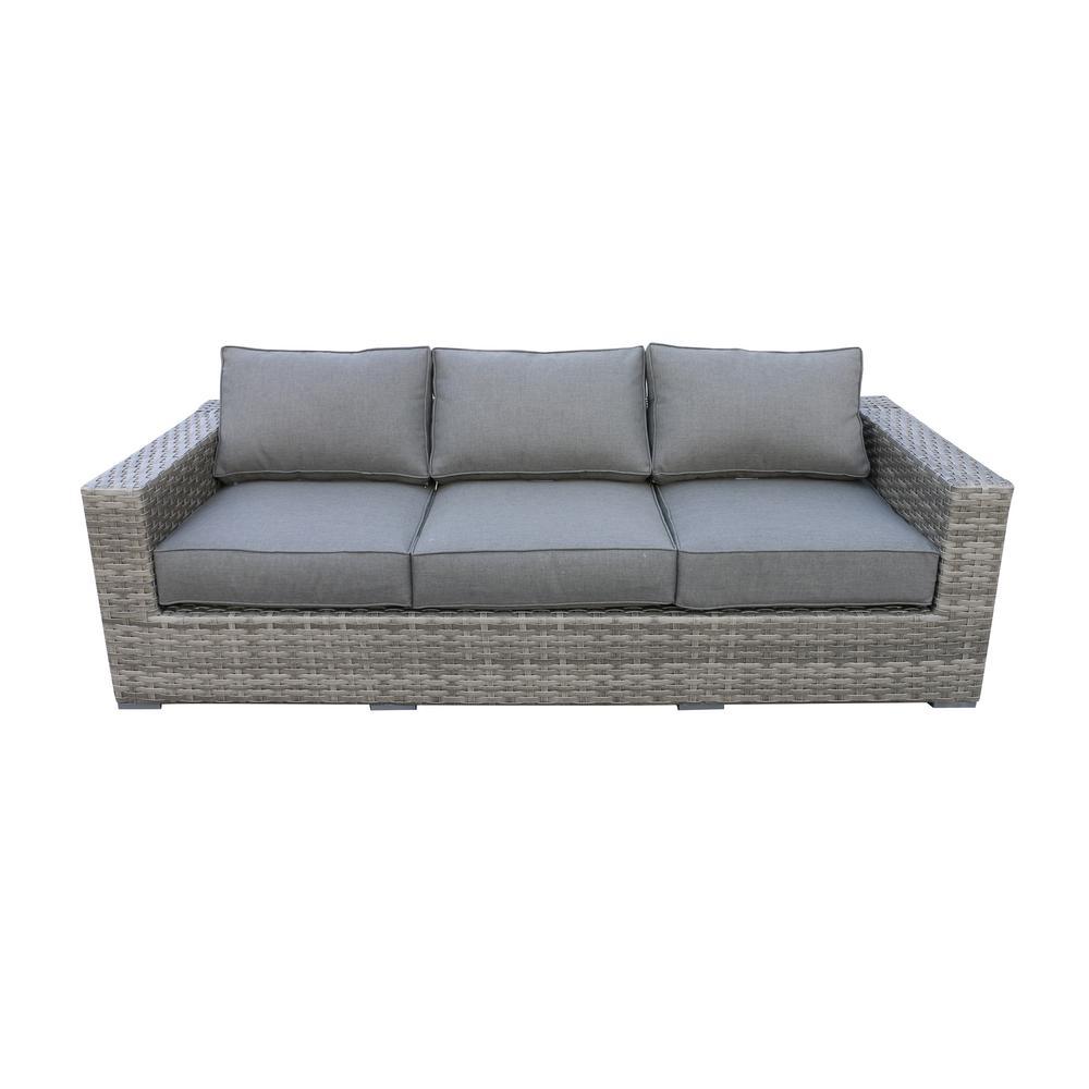 Bali Patio Wicker Outdoor Sofa with Olefin Charcoal Grey Cushions