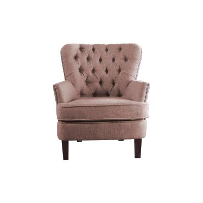 Brown Color Button Tufted Accent Chair with Nailhead