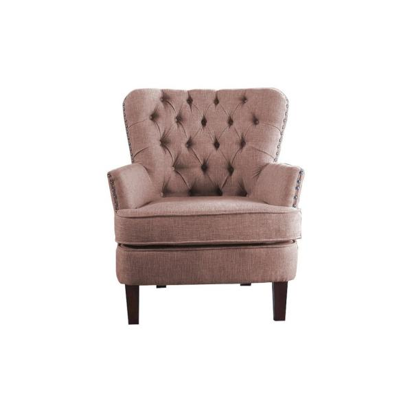Brown Color Button Tufted Accent Chair with Nailhead 92005-16BR