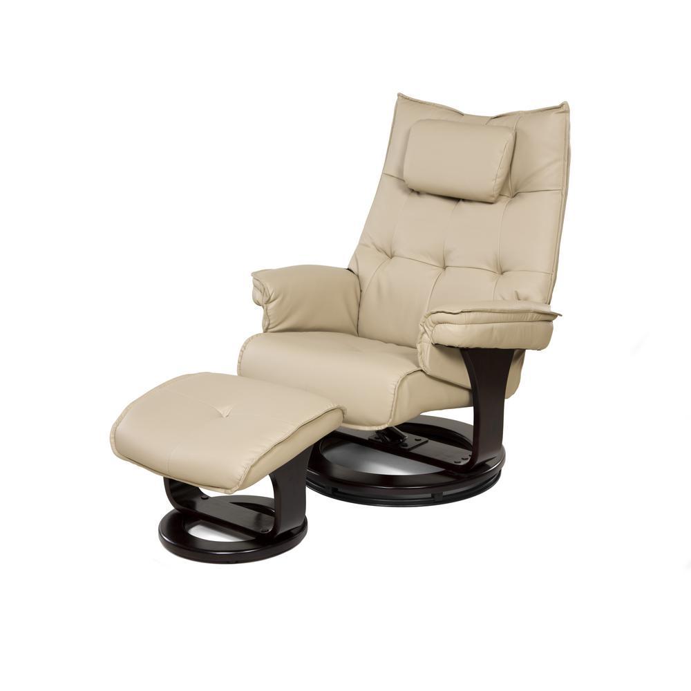 Cream 8-Motor Massage Recliner with Lumbar Heat and Ottoman