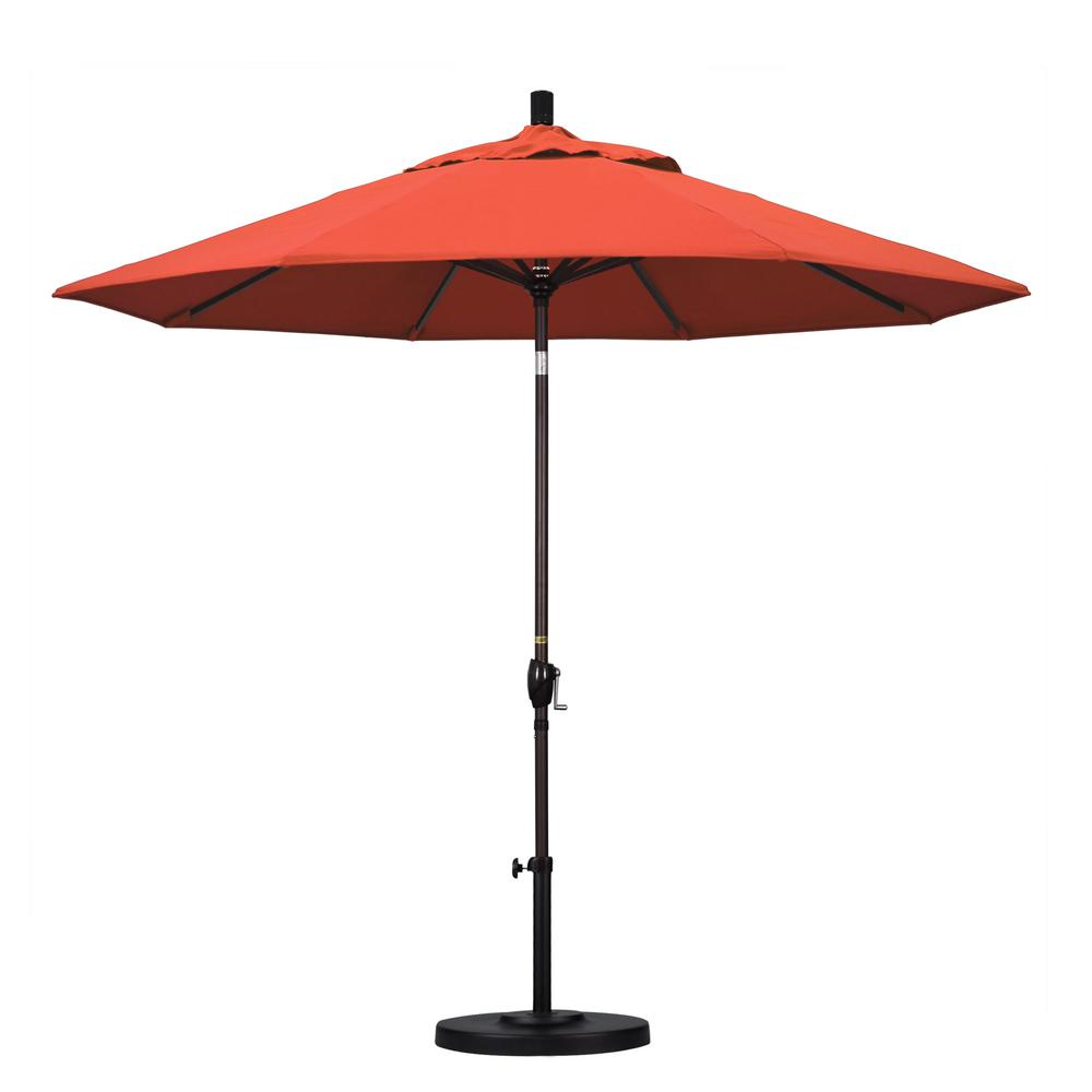 California Umbrella 9 ft. Aluminum Push Tilt Patio Umbrella in Sunset Olefin