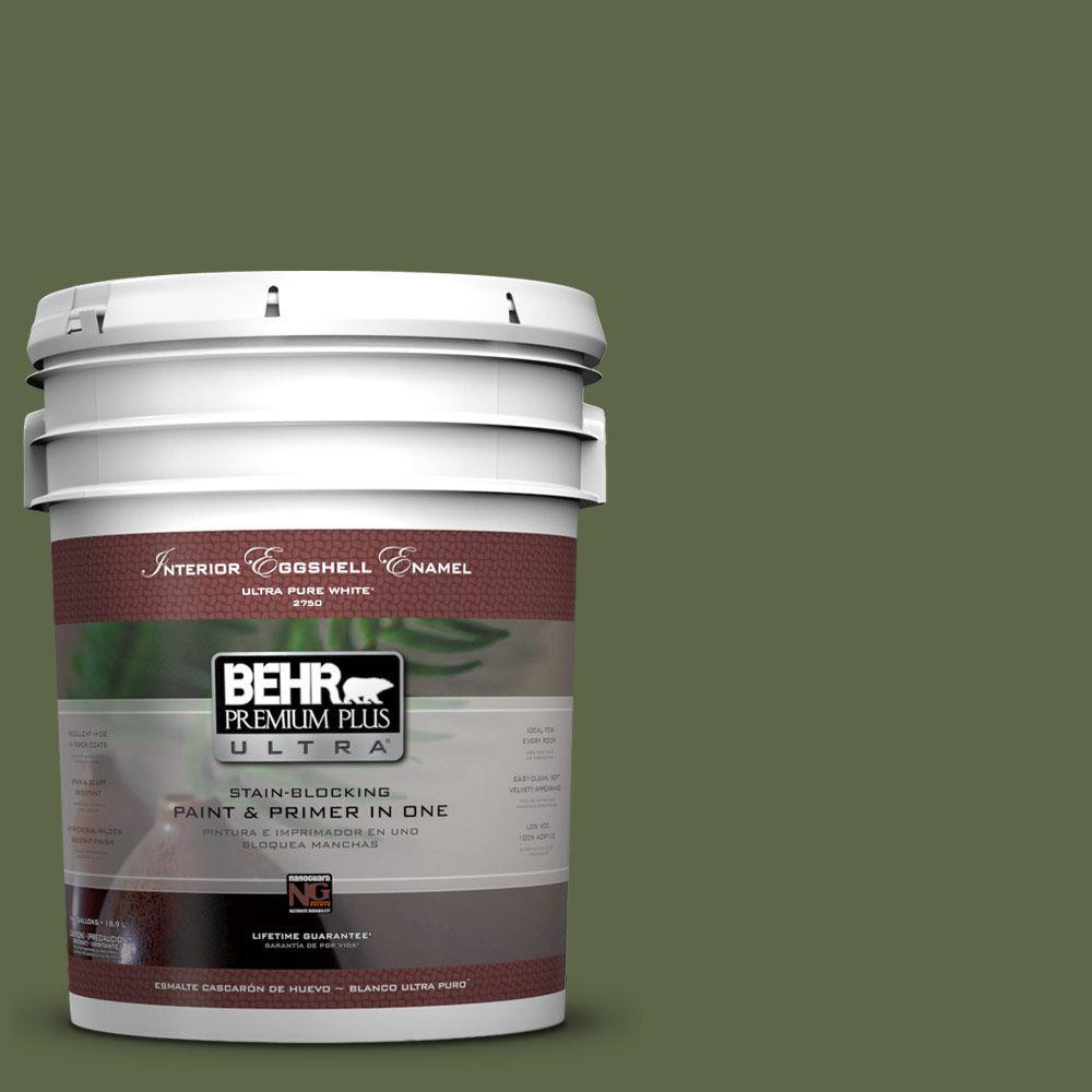 BEHR Premium Plus Ultra 5-gal. #410F-7 Fiddle Leaf Eggshell Enamel Interior Paint