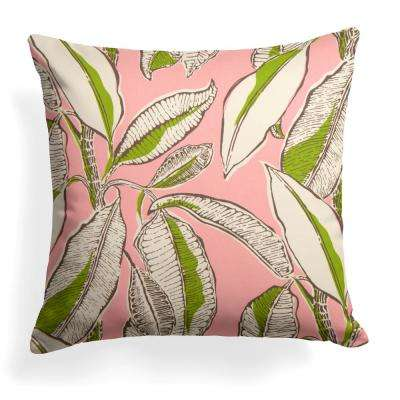 Panama Pink Square Outdoor Throw Pillow