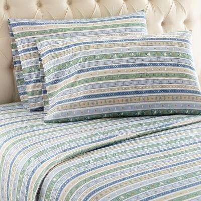 4-Piece Calico Stripe Full Polyester Sheet Set