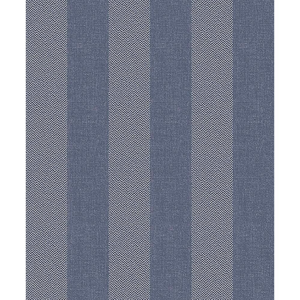 Crown 56.4 sq. ft. Audrey Blue Tweed Stripe Wallpaper M1310