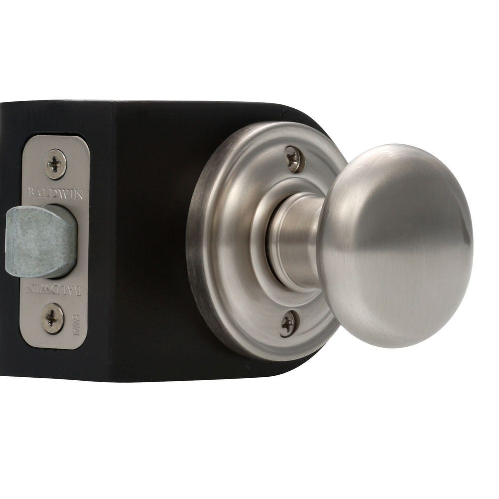 Baldwin Reserve Round Satin Nickel Hall/Closet Knob with Traditional Round Rose