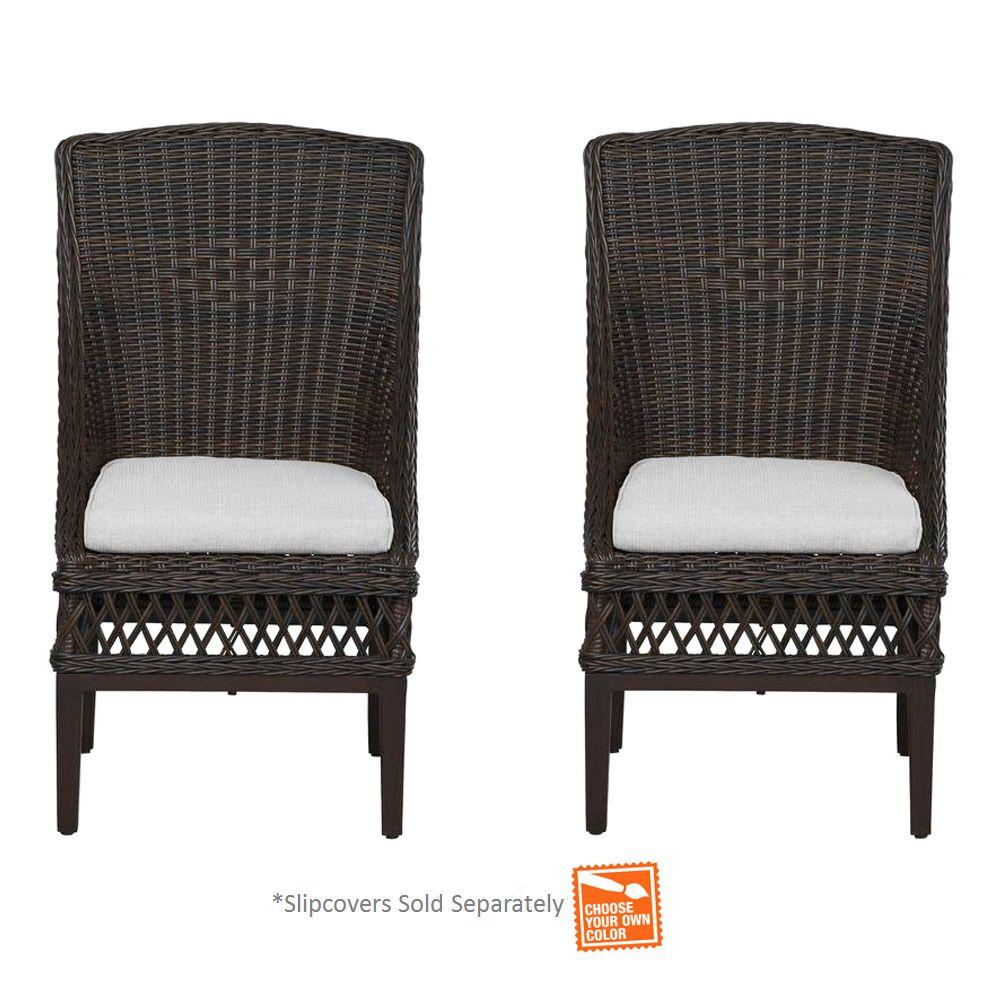 Hampton Bay Woodbury Wicker Outdoor Patio Dining Chair With Chili Cushion  (2 Pack) DY9127 D R   The Home Depot