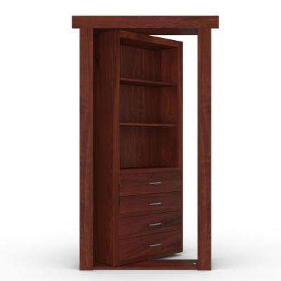 30 in. x 80 in. Flush Mount Assembled Dresser Door Hickory Cherry Stained Left-Hand Outswing