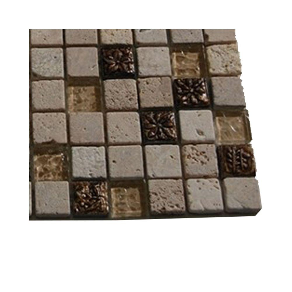 Splashback Tile Tapestry Hydraneum Mixed Material with Copper Deco Mosaic Floor and Wall Tile - 3 in. x 6 in. x 8 mm Tile Sample