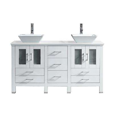 Bradford 60 in. W x 22 in. D Vanity in White with Stone Vanity Top in White with White Basin with Chrome Faucet