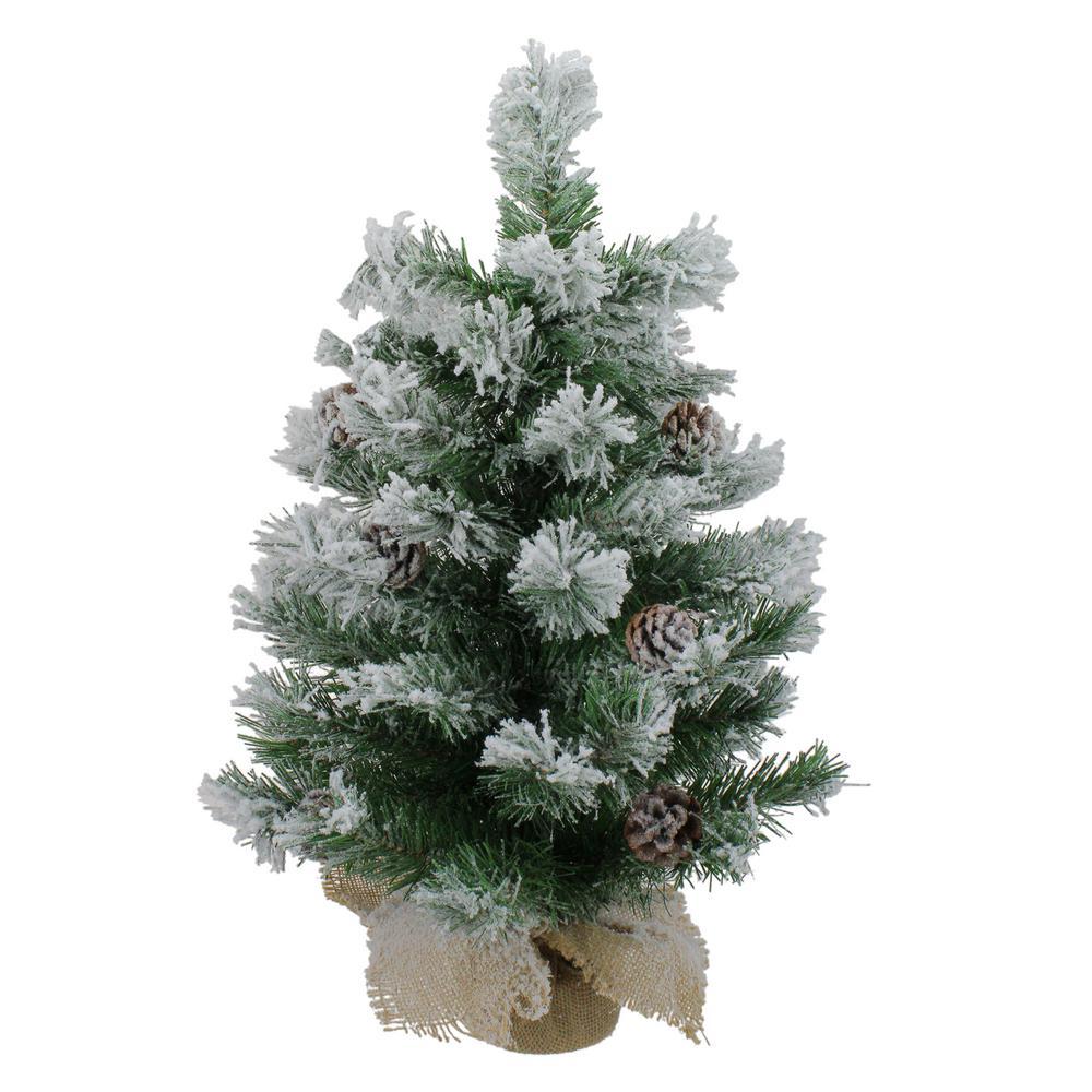 24 in. Unlit Flocked Pine Artificial Christmas Tree in Burlap Base