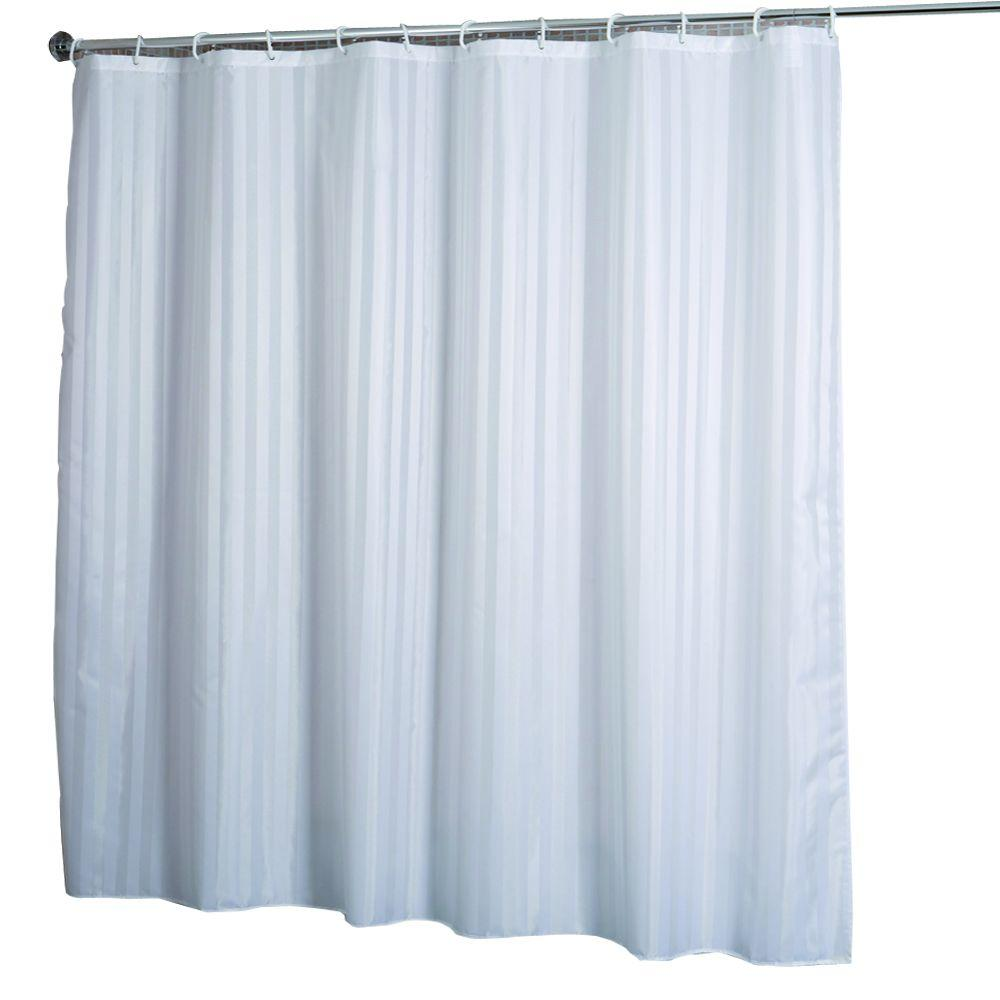 Croydex Shower Curtain in Woven Stripe White-AF580822YW - The Home Depot