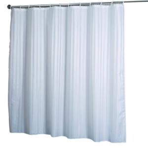croydex shower curtain in woven stripe white af580822yw. Black Bedroom Furniture Sets. Home Design Ideas